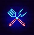 barbecue spatula neon sign vector image vector image