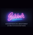 barber neon glowing lettering sign for