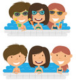 Beautiful cheerful girls relaxing and drinking vector image