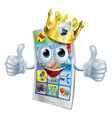 cell phone cartoon king vector image vector image