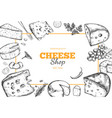cheese collection hand drawn 4 vector image vector image