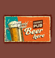 cold lager beer glass advertising banner vector image