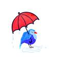 colorful cute bird with umbrella vector image