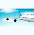 commerical aircraft flying in sky vector image vector image