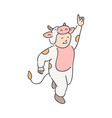 cute child in festive costume of cow isolated on vector image vector image