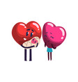 Cute red and pink hearts characters standing with vector image