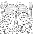 Cute snails adult coloring book page vector image