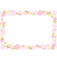 decorative frame of pink and golden flowers and vector image vector image