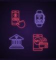 e-payment neon light icons set vector image vector image