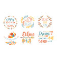 enjoy little things hand drawn badges set vector image vector image