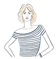 Fashionable girl in a striped T shirt vector image vector image