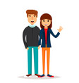 friends on a walk young man and woman walking vector image