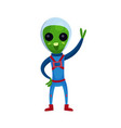 funny green alien with big eyes wearing blue space vector image vector image