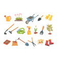gardeners equipment set of objects needed for vector image vector image