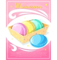 Gift box with macaroons vector image