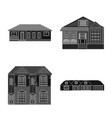 isolated object of building and front icon set of vector image