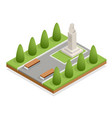 isometric monument in city park bust vector image