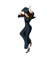 isometry girl graduate jumping rejoices vector image vector image