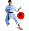 karate kid pose vector image vector image