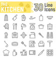 kitchen line icon set household signs vector image