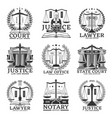 law court lawyer and notary office service icons vector image vector image