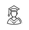 male student - line design single isolated icon vector image