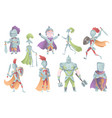 medieval knights in full armor set of flat vector image