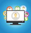 monitor and social media members vector image vector image