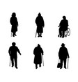 older people silhouettes vector image vector image