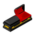 Open black coffin isometrics Wooden casket for vector image vector image