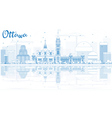 Outline Ottawa Skyline with Blue Buildings vector image vector image