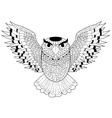 Owl coloring for adults vector image vector image