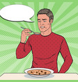 pop art man tasting soup with disgusting face vector image vector image