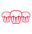 red outline sweet cupcakes vector image