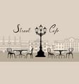 retro cityscape with building facade street cafe vector image