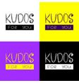 set minimalistic logo kudos for you vector image vector image