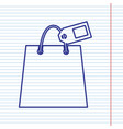 shopping bag sign with tag navy line icon vector image vector image