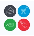 Shopping cart price tag and sale coupon icons vector image vector image