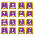 stress icons set purple vector image vector image