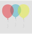 three air flying balloons isolated on white vector image vector image