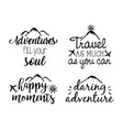 travel adventure set calligraphy messsages font vector image