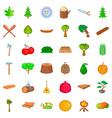tree icons set cartoon style vector image vector image