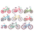 urban family bikes flat set different vector image vector image