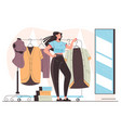 woman consumer character trying cloth dress vector image