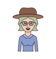 woman half body with hat and glasses with blouse vector image vector image