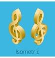 Isometric treble clef vector image