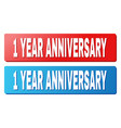 1 year anniversary title on blue and red rectangle vector image