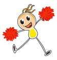 A sketch of a cheerleader with red pompoms vector image vector image