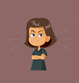 angry girl cartoon vector image vector image