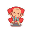 baboy or girl sitting in safety car seat vector image